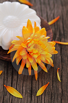 Natural Soap With Orange Flower Royalty Free Stock Photography - Image: 19875347