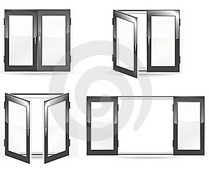 Open And Close Black Windows Royalty Free Stock Photography - Image: 19879907