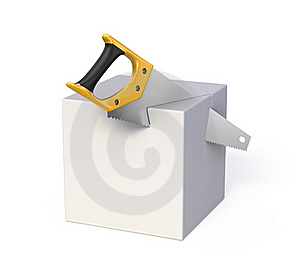Saw And Cube Royalty Free Stock Photography - Image: 19882057