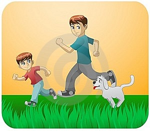 Play With Dad And The Dog Stock Images - Image: 19887074