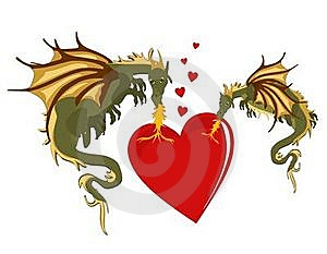 Mystical Dragons In Burning Love... Stock Photo - Image: 19887160
