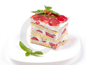 Cake With Strawberries And Mint Royalty Free Stock Image - Image: 19888696