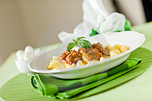 Pasta With Tomato Meat Sauce Royalty Free Stock Image - Image: 19889816
