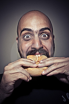 Happy Man Eating A Sandwich Stock Photo - Image: 19896830