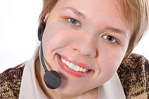 Beauty Smile Girl Operator With Headphones Royalty Free Stock Photo - Image: 1992175