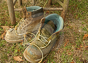 Worn work boots Royalty Free Stock Images