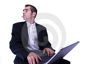 Businessman Working On Laptop Stock Photos - Image: 1998433