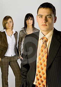 Business Group with Male Leader Stock Photo