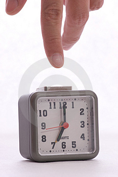 Turning off alarm on the alarm clock Stock Images