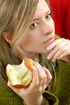 Girl With Apple Stock Photos - Image: 1999613