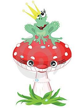 Frog Princess On The Mushroom Royalty Free Stock Image - Image: 19904166