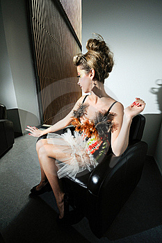 Funny Girl In Armchair Stock Photos - Image: 19905563