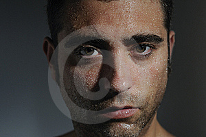 Man Portrait With Drops Royalty Free Stock Image - Image: 19906896