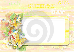 Summer Card With Butterflies Royalty Free Stock Image - Image: 19909556