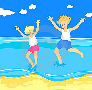 Children Jumping In The Sea Royalty Free Stock Photo - Image: 19914795