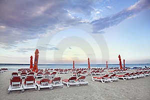 Chaise Longue On The Beach Stock Images - Image: 19923734