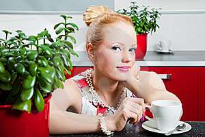 Girl With Cup Of Morning Coffee In Interior Of Kit Stock Images - Image: 19926694