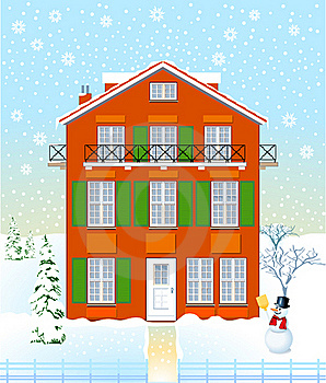 House In The Winter Time Royalty Free Stock Photography - Image: 19934747