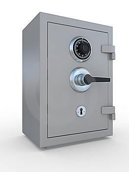Closed Steel Bank Safe Over White Royalty Free Stock Images - Image: 19936659