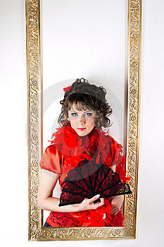 The Girl In Red With A Fan Royalty Free Stock Photography - Image: 19961537