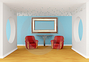 Gallery With Red Chairs And  Table Royalty Free Stock Image - Image: 19965446