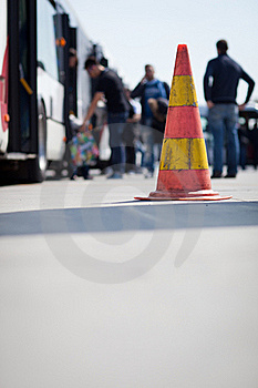 Safety Cone At The Aerodrome Of An Airport Royalty Free Stock Photo - Image: 19967775