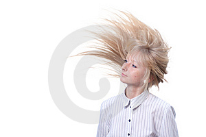 Blond With Flying Hair White Seamless Stock Photography - Image: 19974922