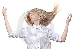 Dancing Blond On White Background Royalty Free Stock Images - Image: 19974939