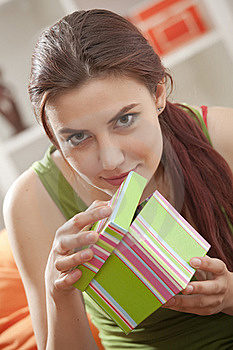 Happy Woman With Gift Box Royalty Free Stock Images - Image: 19976789