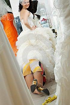 Fashion Model Fitting White Wedding Dress Stock Photography - Image: 19976932