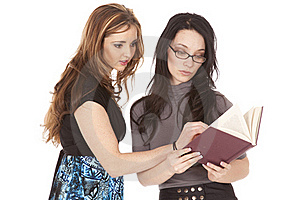 Two Women Reading Book Stock Photography - Image: 19978632