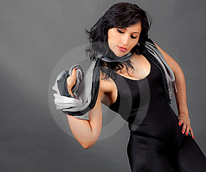 Sexy Woman In Black Leotard With Scarf Stock Photos - Image: 19980623