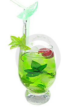 Alcohol Green Curacao Liqueur Cocktail With Cherry Stock Photos - Image: 19985713