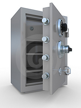 Opened Steel Bank Safe Over White Stock Photo - Image: 19986450