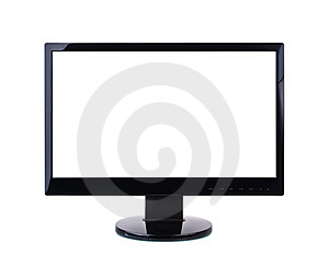 Computer Monitor With Blank White Screen. Stock Images - Image: 19988744