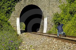 Railroad Photographer Stock Image