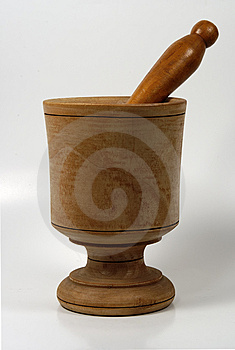 Wooden Mortar And Pestle Stock Image - Image: 22881