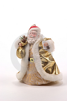 Golden Santa Tree Ornament Free Stock Photography