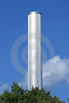 Silver chimney tower Royalty Free Stock Photos