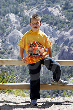 Young Boy In Mountains Stock Photography