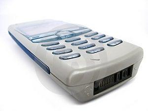 Teléfono celular bajo de la clase. colores Azul-grises. Fotografía de archivo