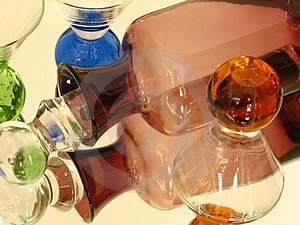 Glass Bottle & Glasses Royalty Free Stock Images