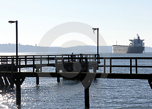 Old Pier And Ship Free Stock Photography