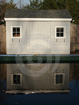 Shed Reflection Free Stock Photography