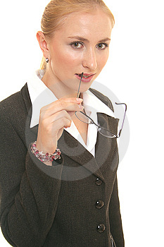 Thinking Lady Stock Photo