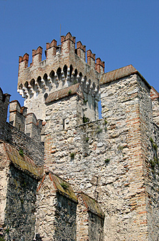 Battlements of a Castle Stock Photo