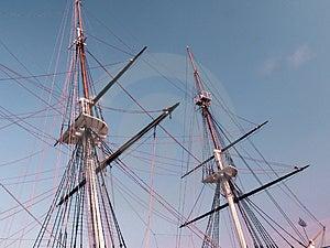 Historic sailing ship masts Stock Photography