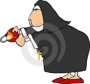 Nonne mit einer Bombe Stockfotografie