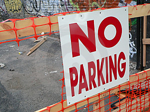 No Parking Sign In A Neighborhood With Graffiti Free Stock Photo