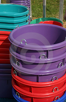 Colorful Buckets Free Stock Photography